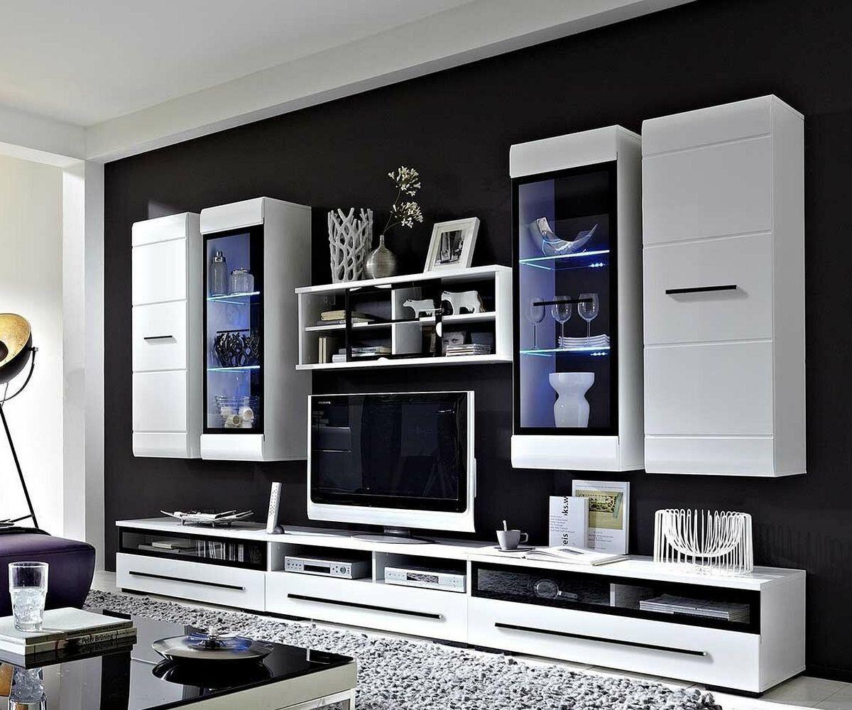 Fantastisch Wohnwand Linus 300x200 Weiss Hochglanz Beleuchtung Möbel Wohnwände