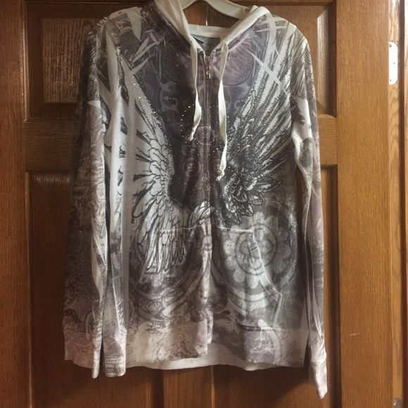 Lightweight hoodie by Daytrip! Great quality! Worn once or twice, like new! Very light weight!!! Just the right amount of crystals! Daytrip Tops Sweatshirts & Hoodies