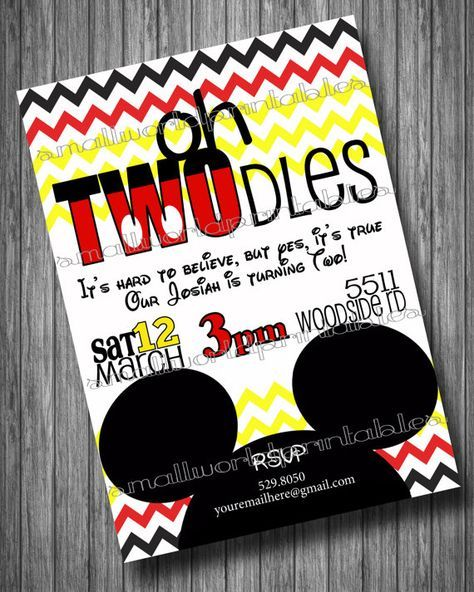 Oh Twodles Toodles Mickey Mouse Clubhouse Birthday Party Invitation