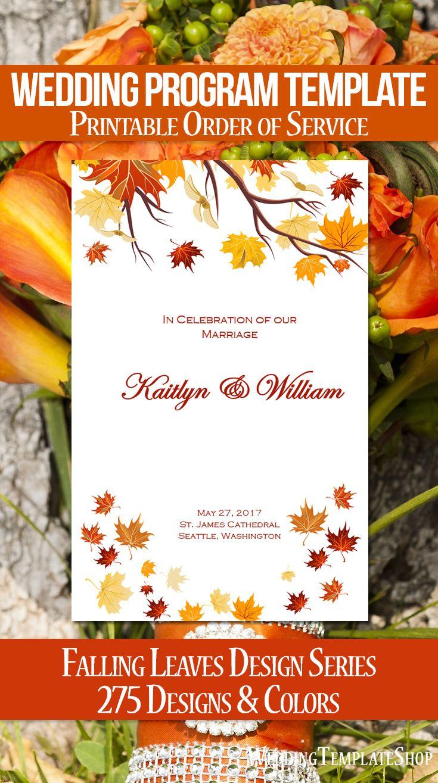 printable wedding program falling leaves autumn yellow red orange