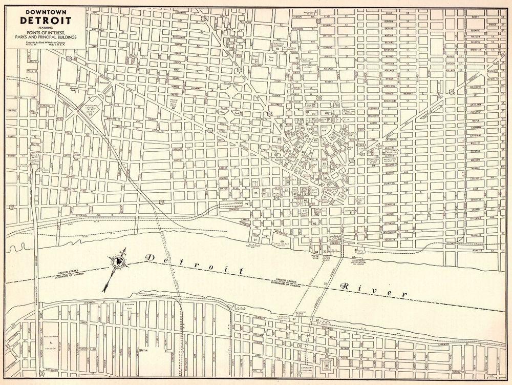 1942 Antique Map Of Detroit Michigan Vintage Detroit Gallery Wall Art 4852 Detroit Map Detroit Framed Maps