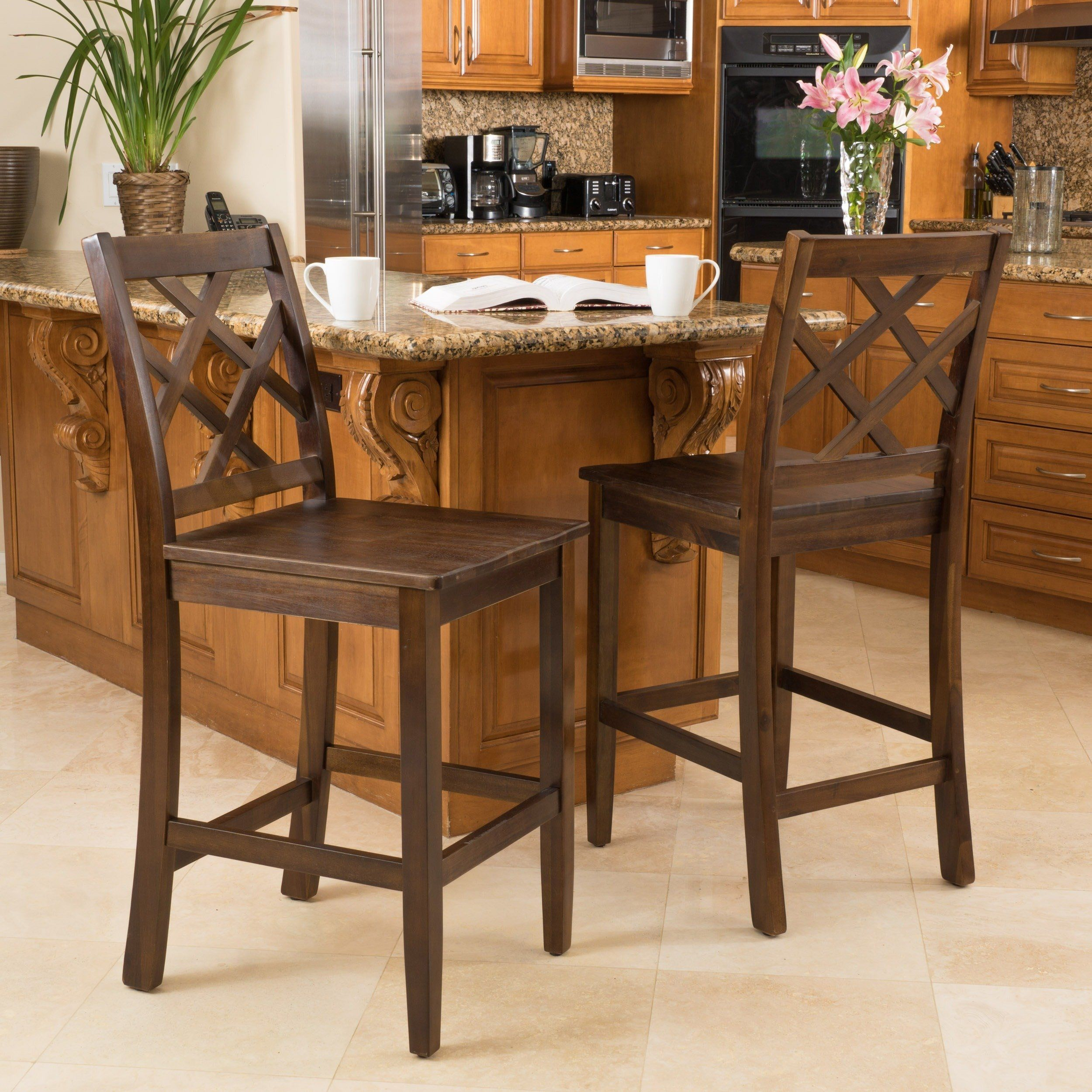 Pleasant Naples Acacia 26 Inch Wood Counter Stool In Brown Set Of 2 Inzonedesignstudio Interior Chair Design Inzonedesignstudiocom