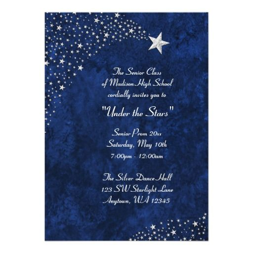 Silver falling stars blue prom formal invitations galxias shooting silver stars on a dark blue background are featured on this prom formal event invitation stopboris Image collections