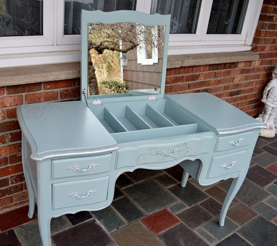 French Provincial Vanity Desk Make Up Table Painted Soft Duck Egg Blue
