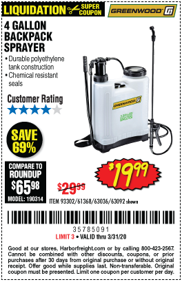 Greenwood 4 Gallon Backpack Sprayer For 19 99 In 2020 Sprayers Harbor Freight Tools Gallon