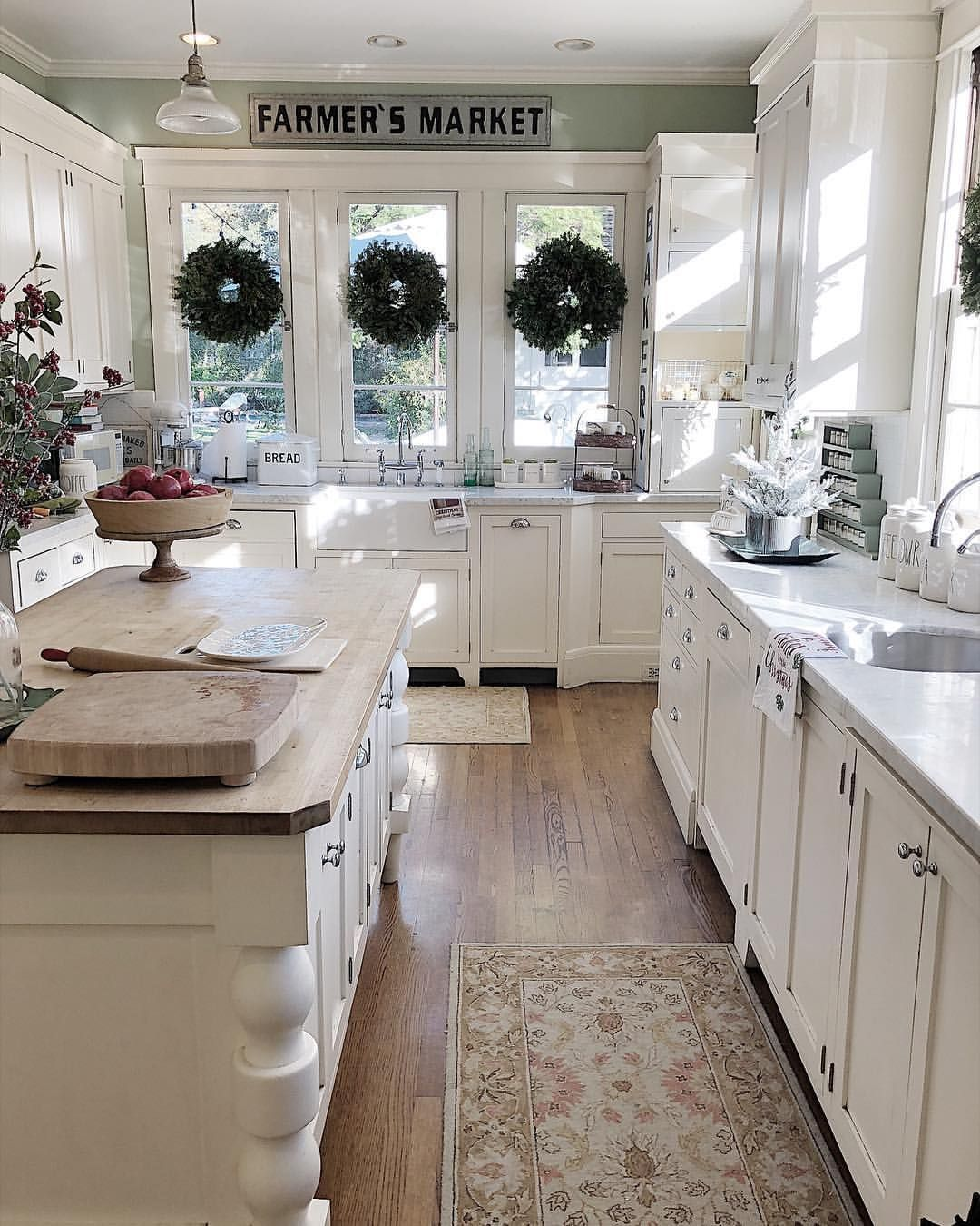 Lobe The Three Wreaths On Large Window And Cozy Rugs Under Sinks Farmhouse Kitchen Cabinet Ideas Click Pic For Many