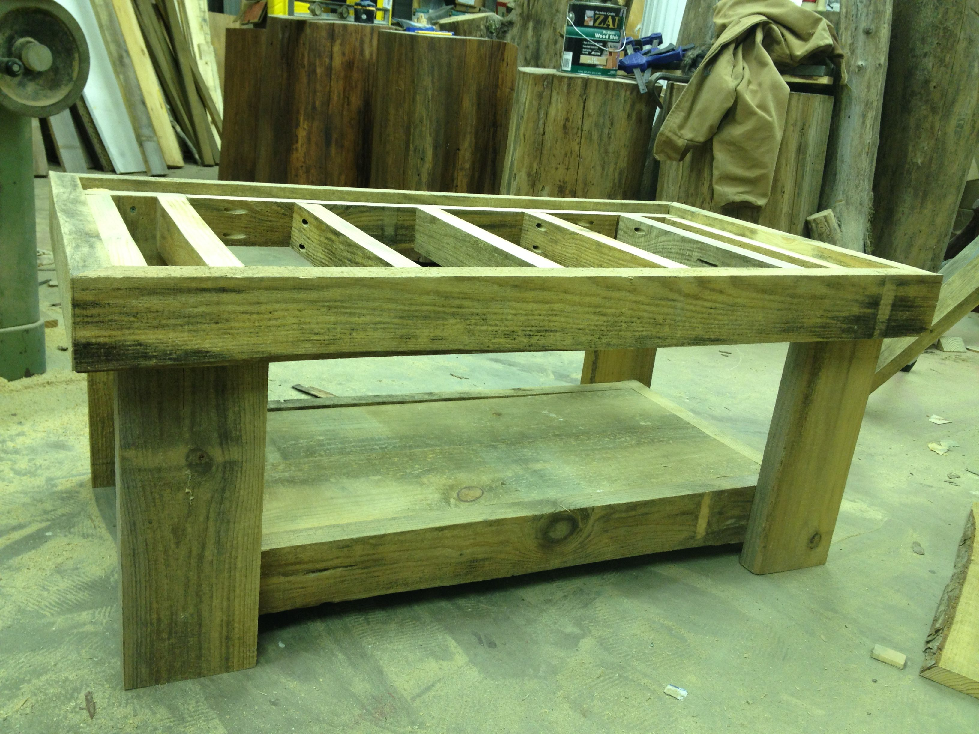 Rough cut pine coffee table nearing completion for the ...