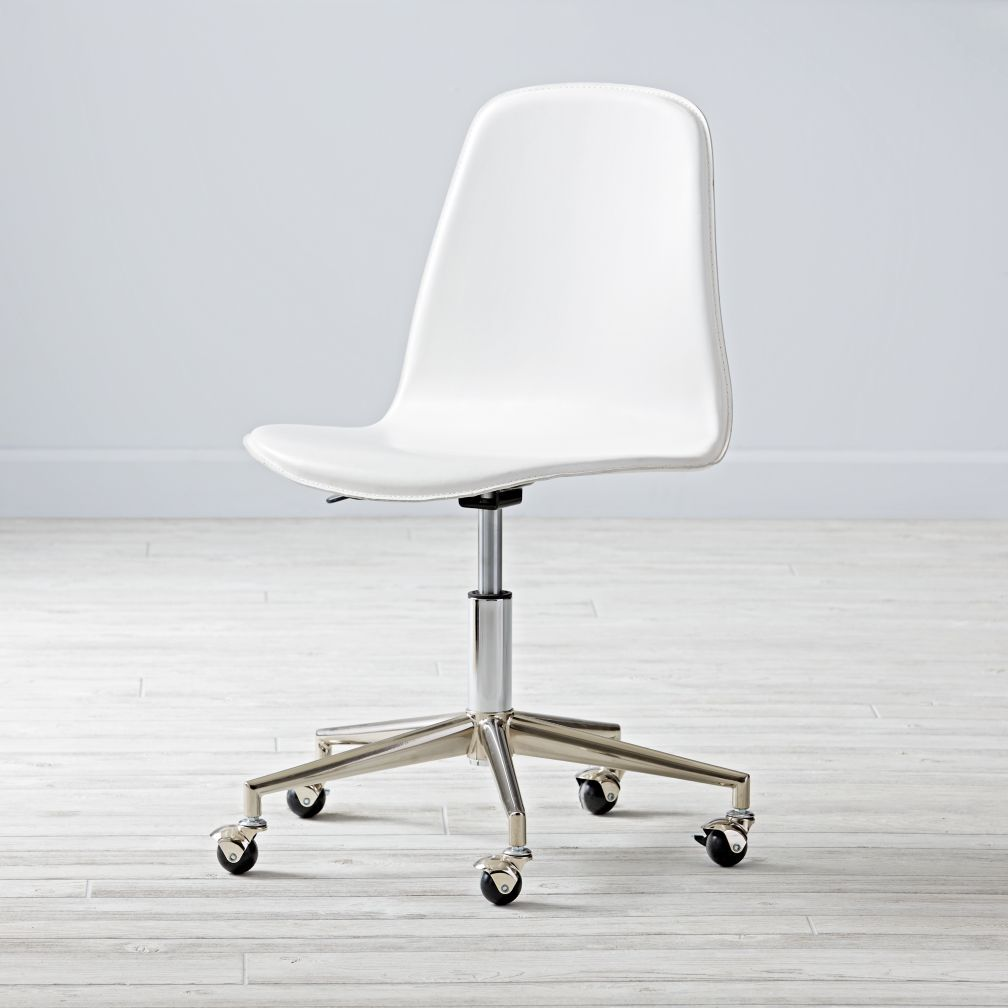 Cl Act White Silver Desk Chair Here S A Smart Idea Our Leather Has Rolling Wheels And Padded Adjule Seat That Swivels 360