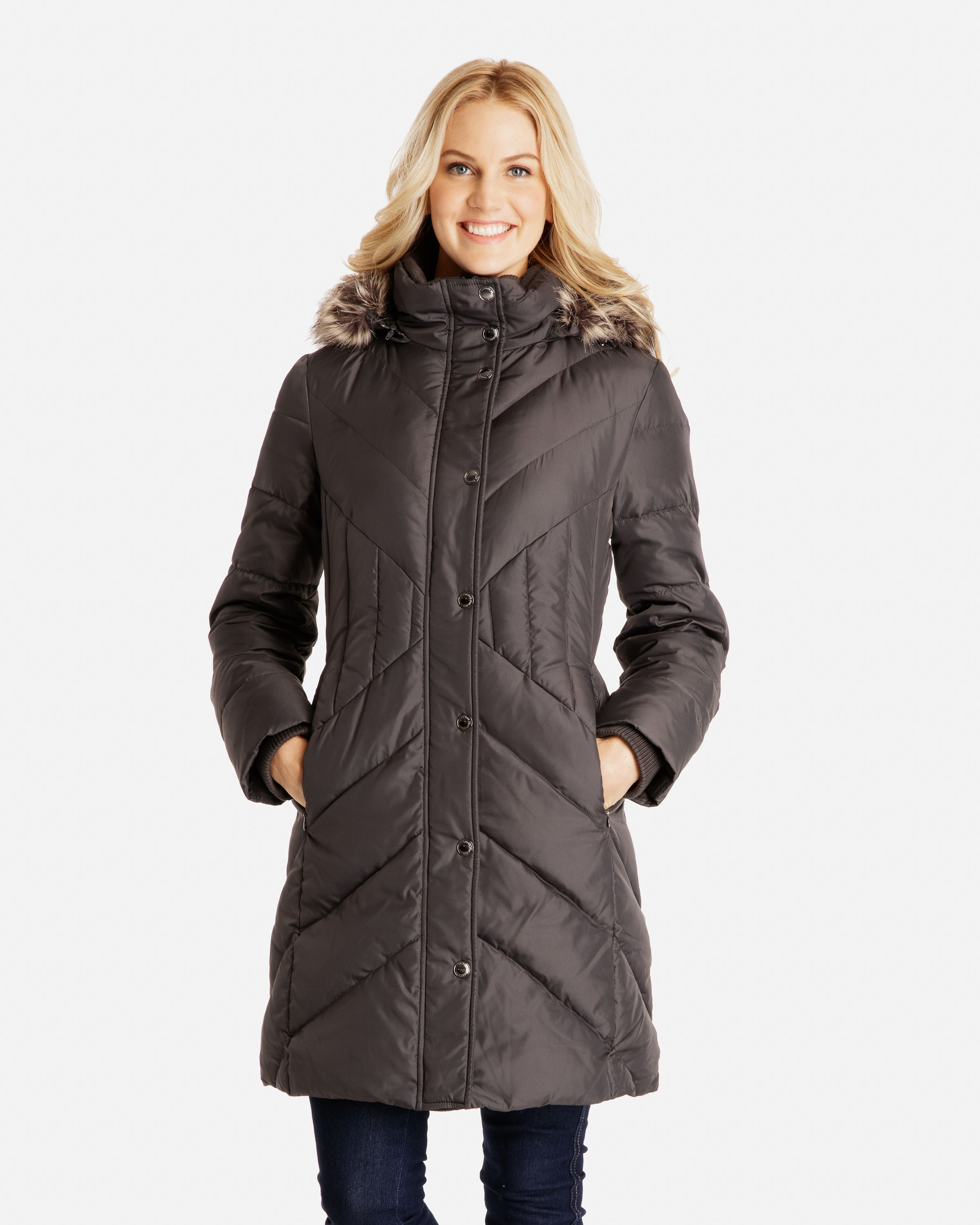 $119 Celine Chevron Quilted Down Coat with Detachable Faux Fur ... : quilted down coats - Adamdwight.com