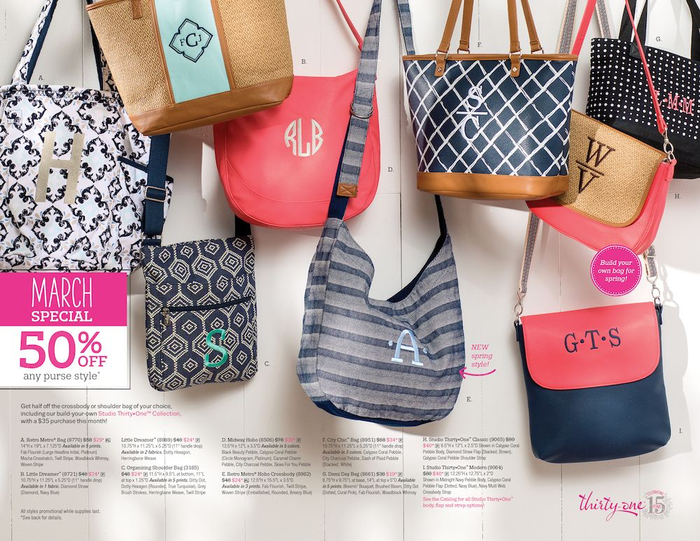 March Special 50 Off The New Studio Purses By Thirty One Design Your Own Purse Online