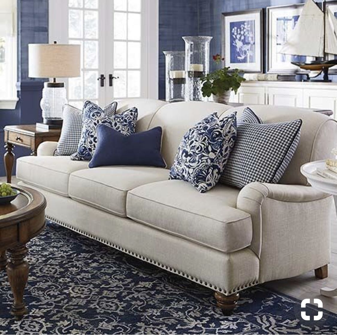 Love The Navy Blue With Images Couches Living Room Coastal