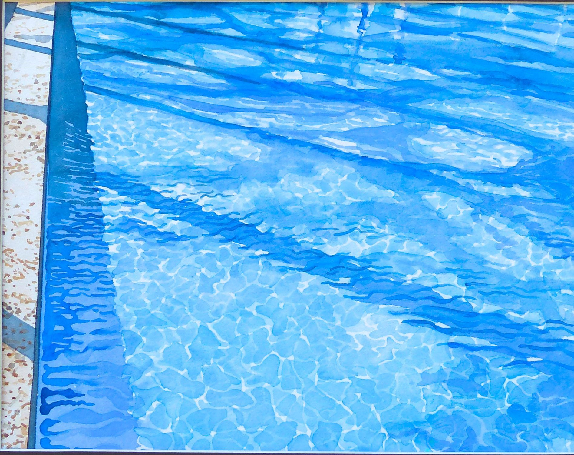 Tree Shadows On Pool Painting Landscape Swimming Pool Water