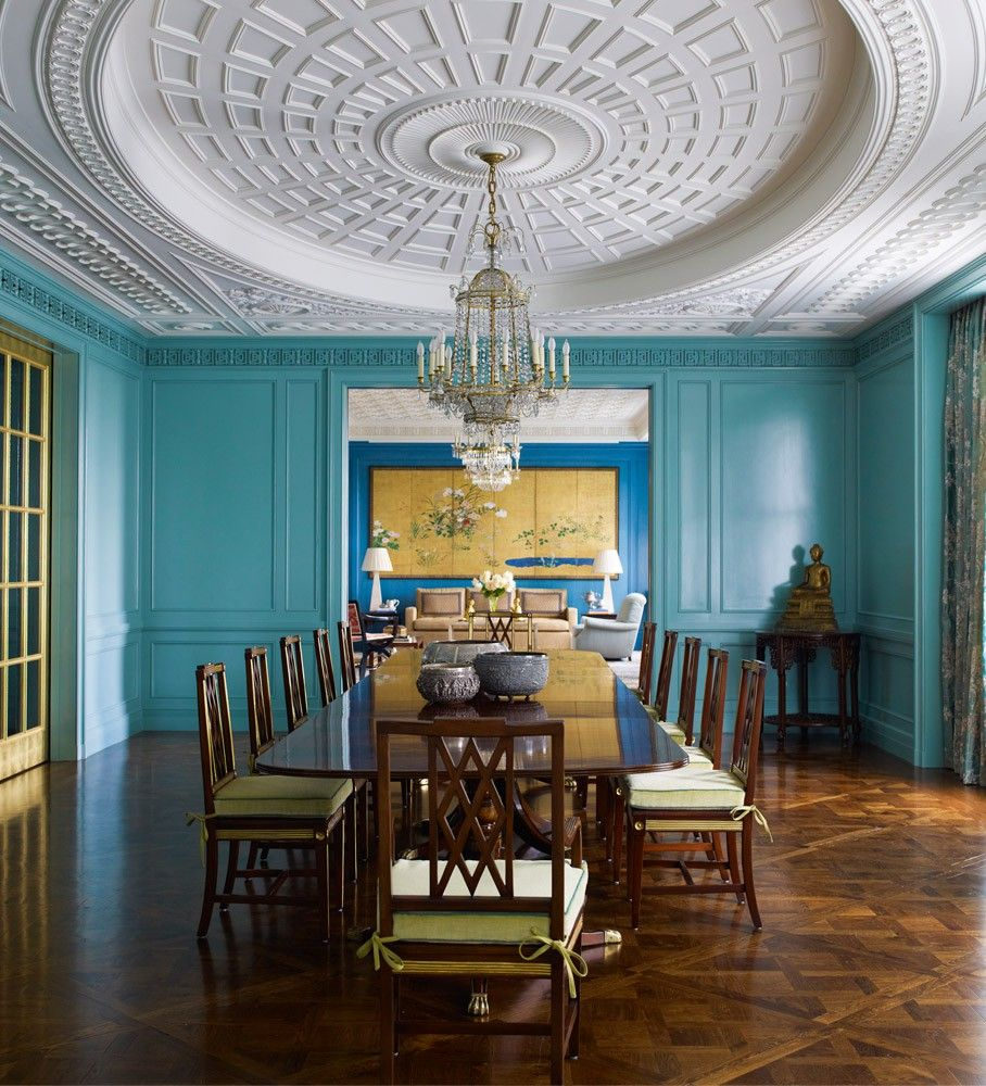 Gorgeous Dining Room With Stunning Ceiling Design, Classic