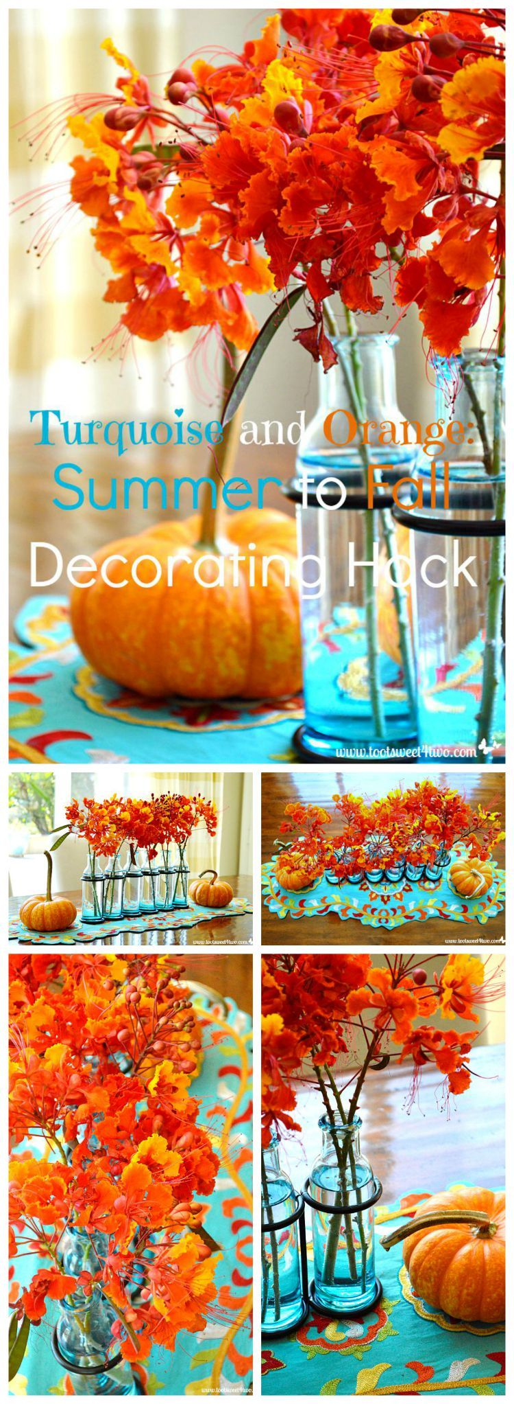 Orange And Aqua: Turquoise And Orange: Summer To Fall Decorating Hack