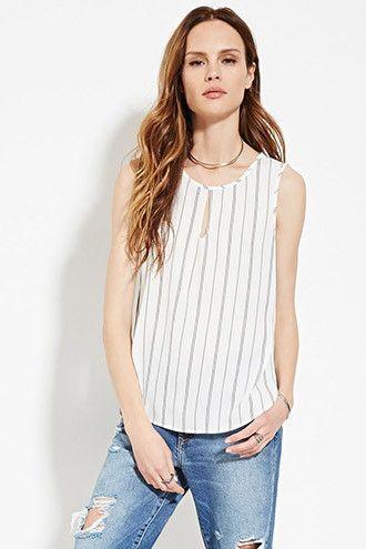 Contemporáneo - Camiseta rayada con escote lágrima | Forever 21 Contemporary - 2000150817