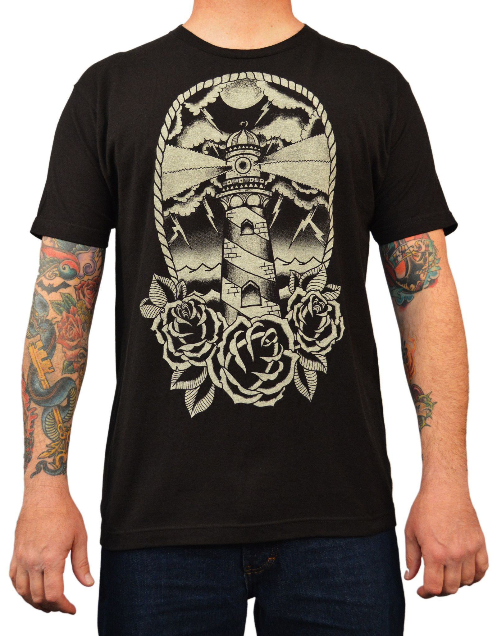 Men S Lighthouse By Adi Rockabilly Traditional Tattoo Art Work T Shirt Traditional Tattoo Art Tattoo Shirts Traditional Tattoo Man