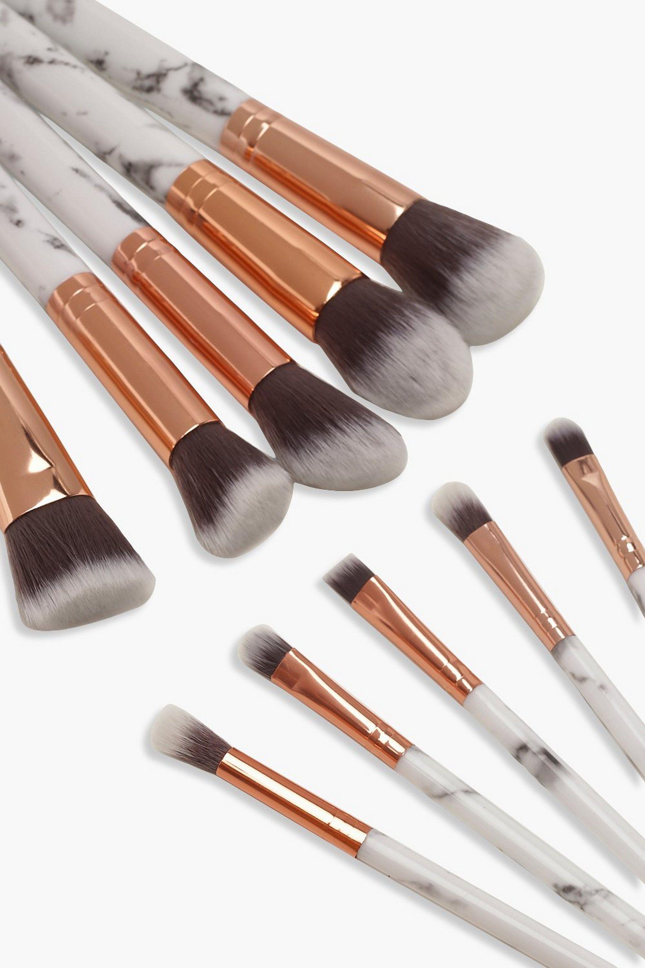 10 Piece Rose Gold Marble Make Up Brush Set Boohoo In 2020 Makeup Brush Set Rose Gold Brushes Makeup Brushes