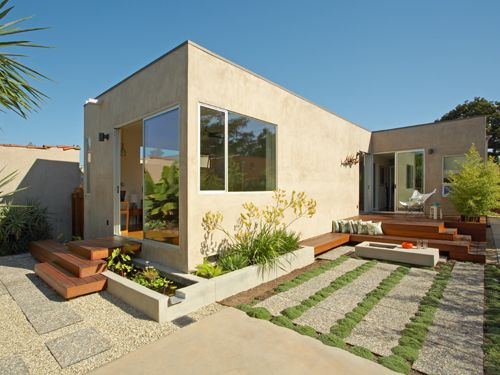 Cubic L Shaped Bungalow Systematically Backyard Garden Design