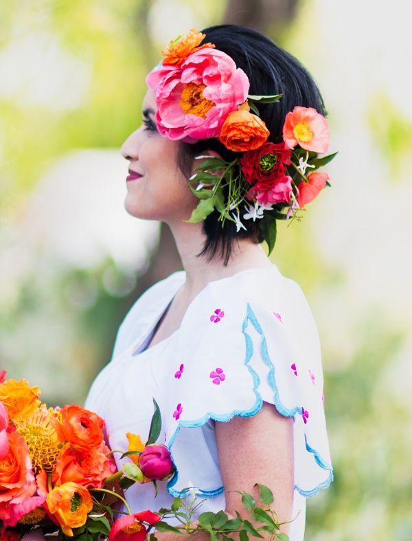 Technicolor Cinco De Mayo Wedding Ruffled Mexican Wedding Flowers In Hair Pink Floral Crowns