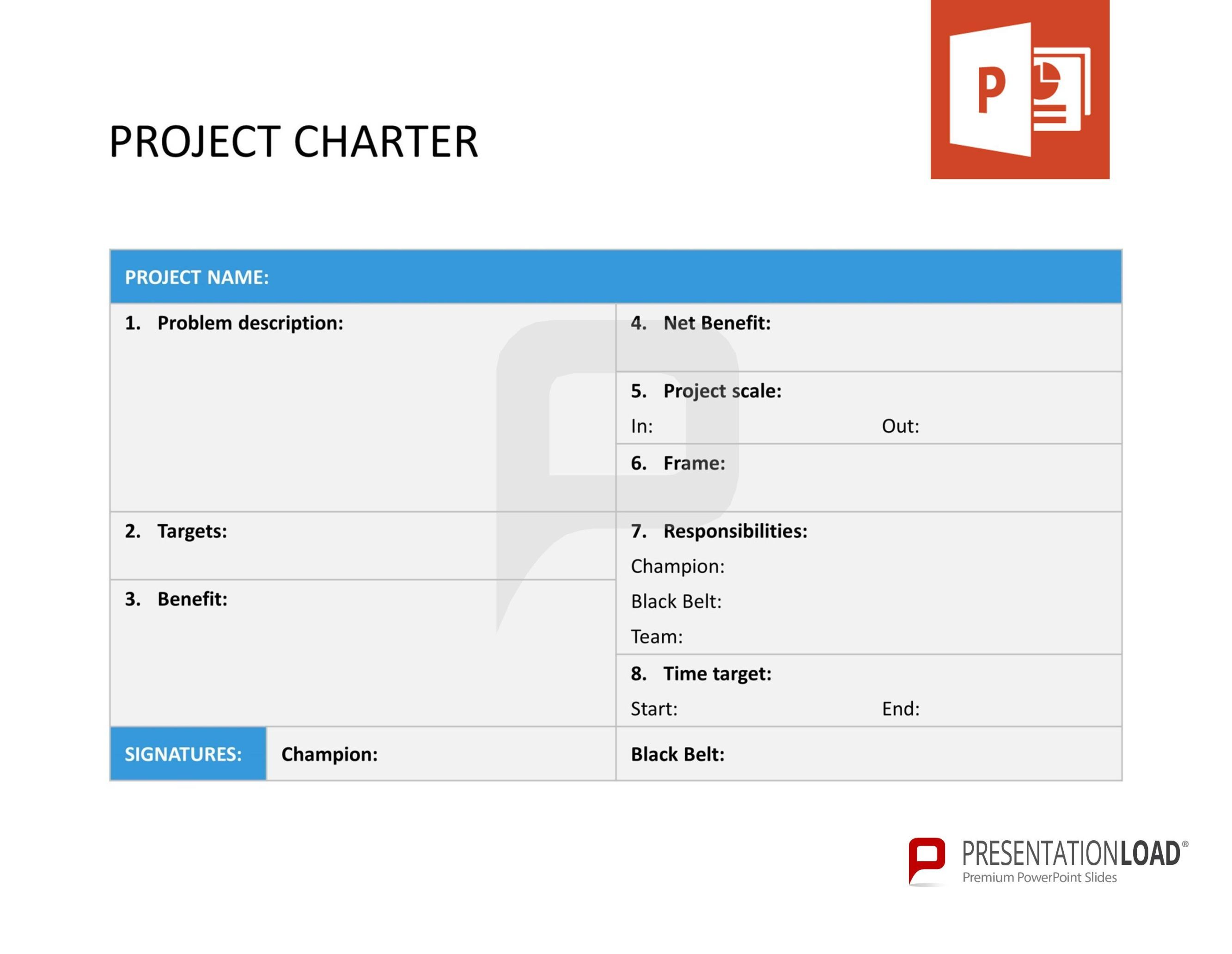 Project Charter  Six Sigma  PowerpointTemplates  HttpWww
