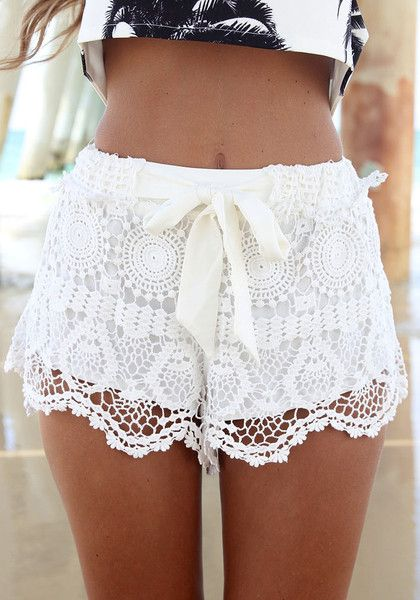 White lace drawstring shorts comes with a lining with a white lace overlay and a bow drawstring to channel your girly girl side. | Lookbook Store Shorts Collection
