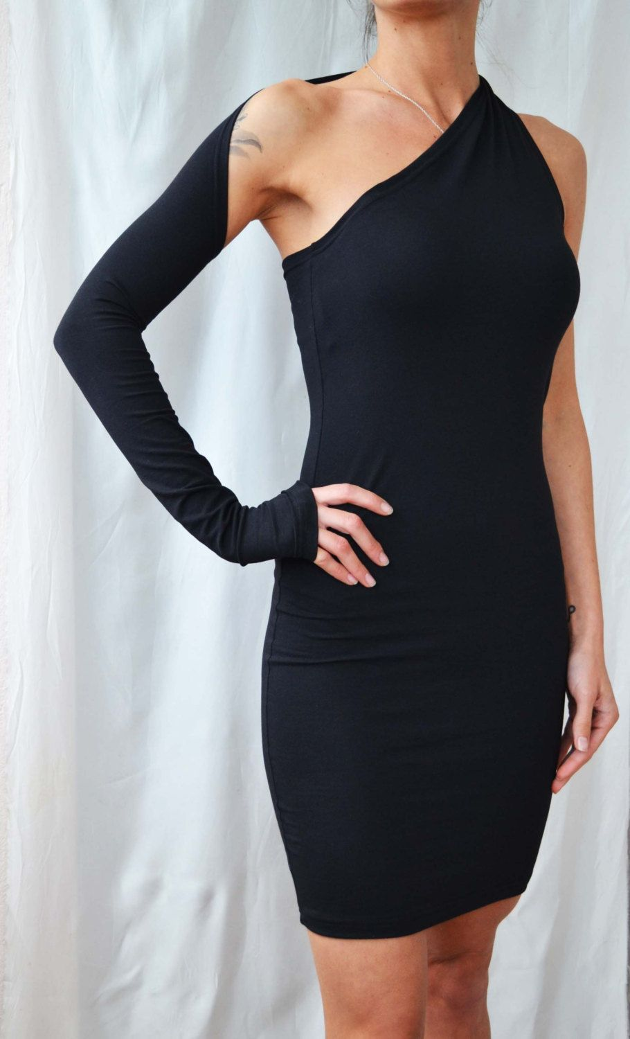Black dress with one long sleeve