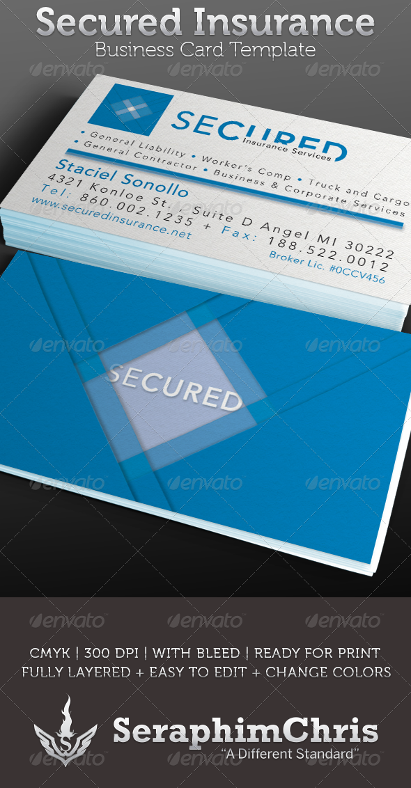 Secured Insurance Business Card Template Business Card Template