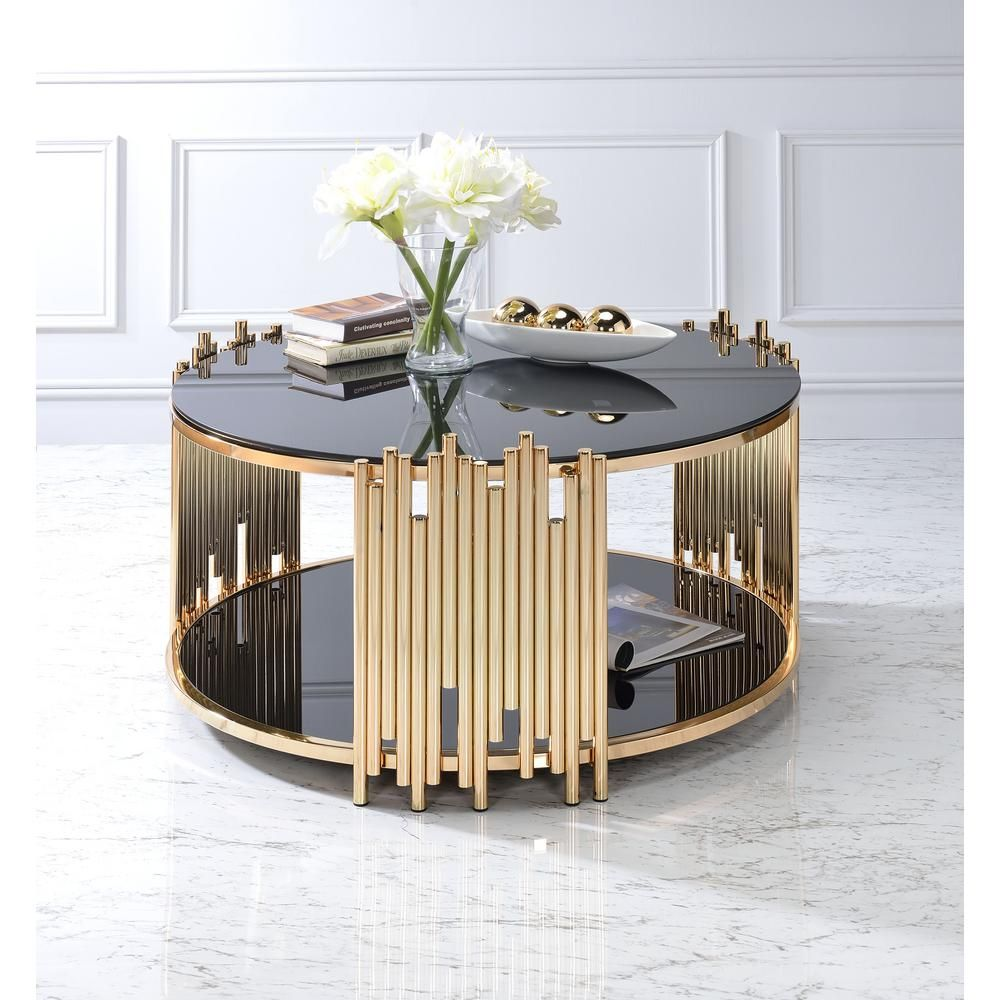 Acme Furniture Tanquin Black Glass And Gold Coffee Table 84490 The Home Depot Coffee Table Living Room Coffee Table Gold Coffee Table [ 1000 x 1000 Pixel ]