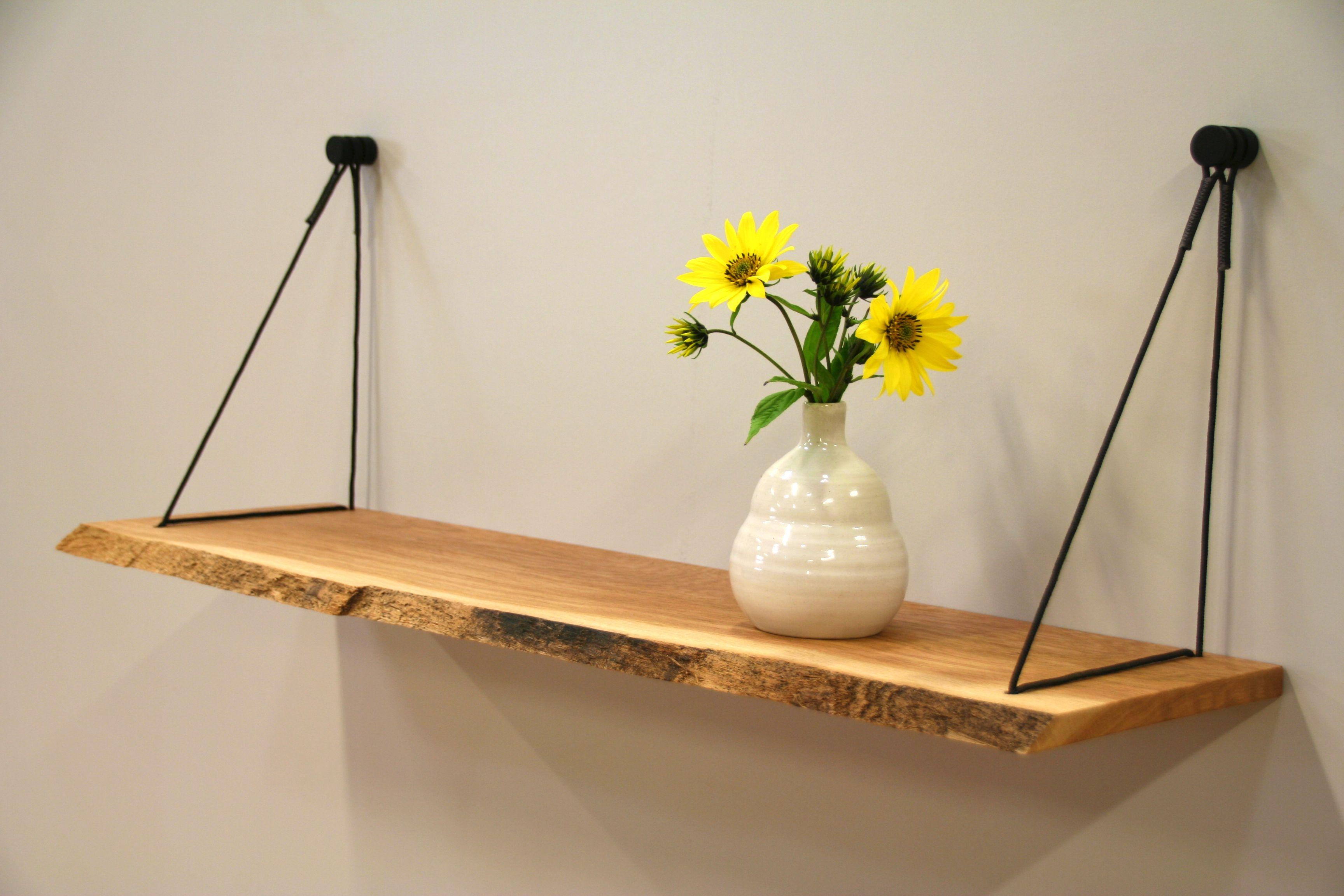 Wandplank met boomstam vorm hangplank sling uniek ophangsysteem