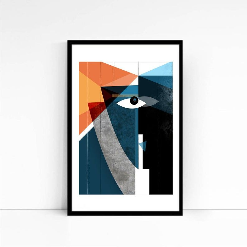Kiss Modern Faces Abstract Geometric Art Abstract Art Print Contemporary Art Bold Mid Century Modern Living Room Art Art Collector Epoque Geometrique Art Abstrait Moderne Les Arts