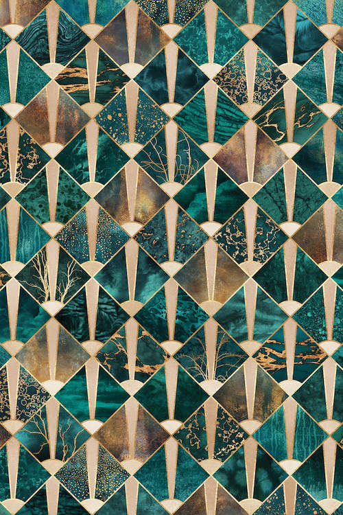 Art Deco Tiles I Canvas Wall Art by Elisabeth Fredriksson