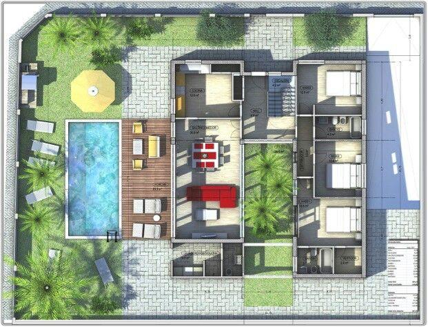 Casa com jardim interior e piscina planos casa planos for Planos de casa con piscina interior