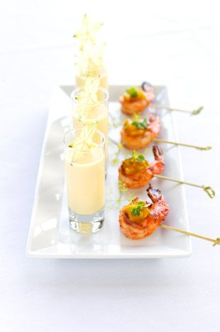 Shrimp with mango dip paired with a shooter of mango lasse