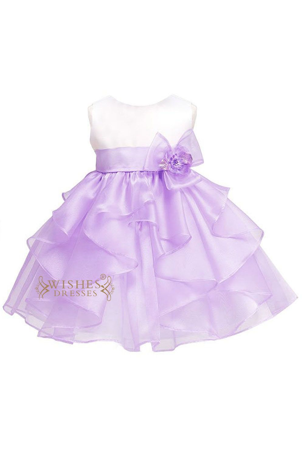 Lilac /White Bicolor Organza Little Flower Girl Dress For Cute Baby ...