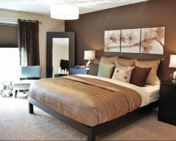 schlafzimmer wandfarbe brauntöne wandgestaltung