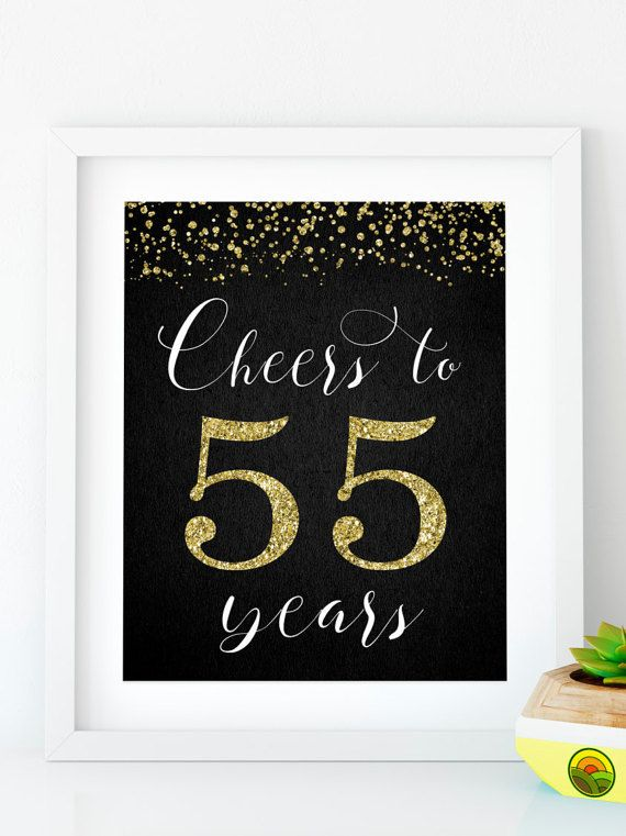 Instant Download Cheers To 55 Years Printable 55th Birthday Banner