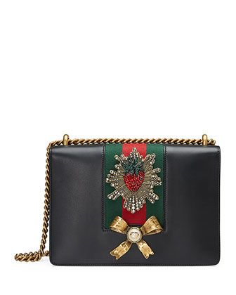 Peony Medium Strawberry Chain Shoulder Bag, Black by Gucci at Neiman Marcus.