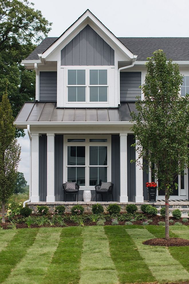 Grey Home Exterior With Grey Board And Batten Siding And