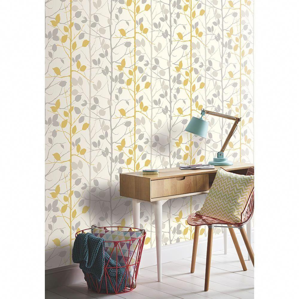 Arthouse wallpaper woodland grey and yellow yellowbedroom