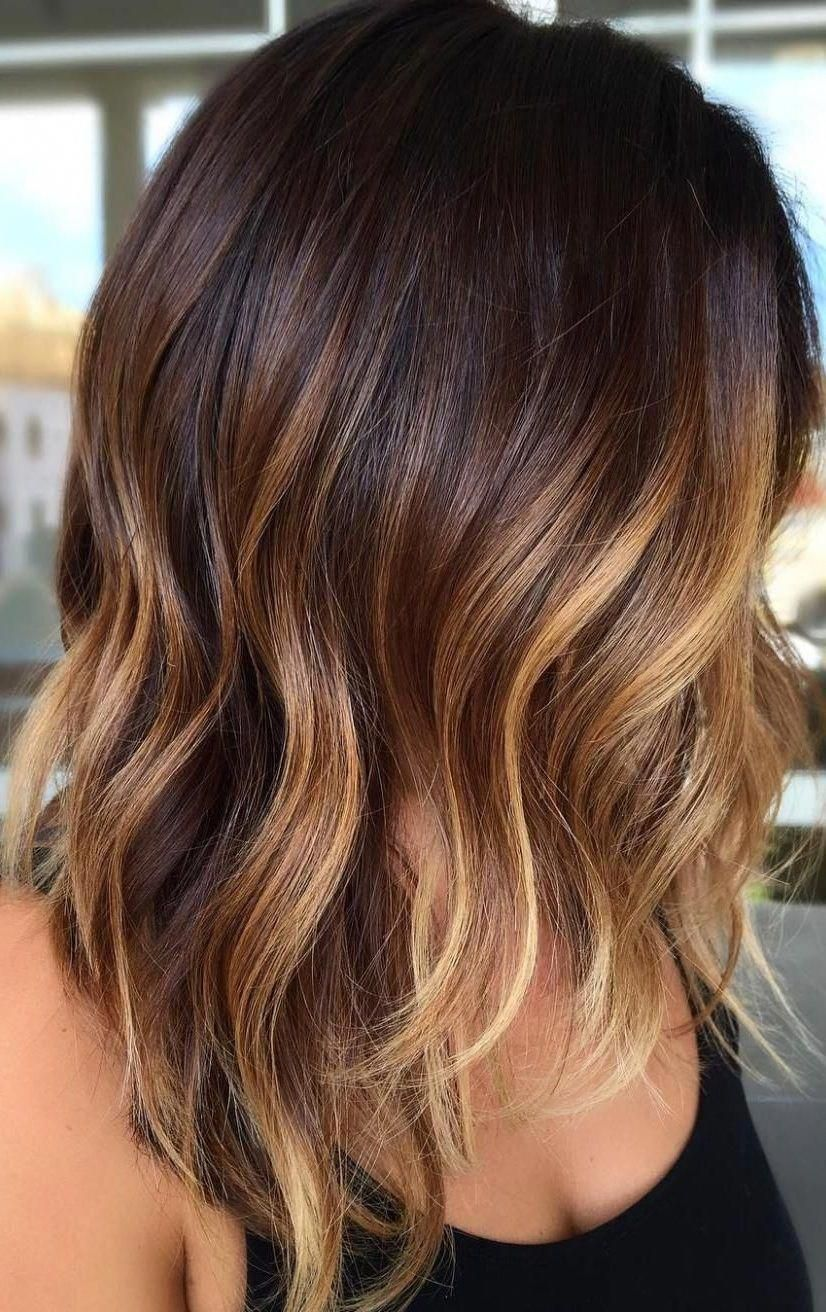 28 Incredible Examples Of Caramel Balayage On Short Dark Brown Hair Caramel Balayage O In 2020 Brown Hair Balayage Brown Hair With Blonde Highlights Thick Hair Styles