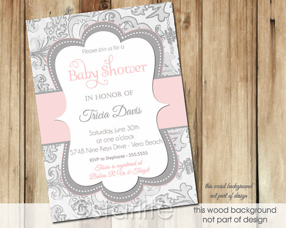 Exceptional Shimmer Pink Gray (vertical)   Baby Shower Invitation   Baby Girl   Vintage  Style