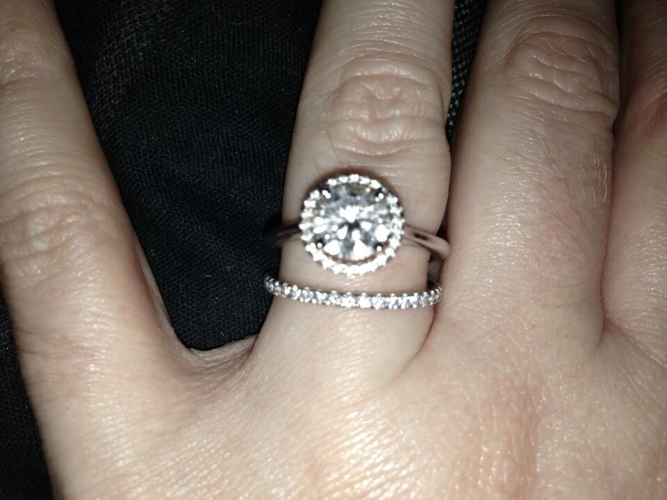 My Beautiful Blue Nile Engagement Ring Plain Shank Floating Halo Setting In White Gold With Carat Diamond And Matching Wedding Band