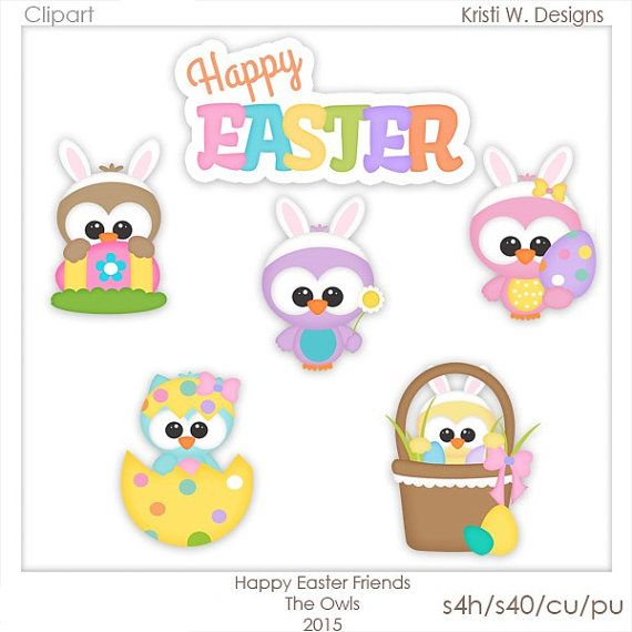 Digital Scrapbooking Clipart Happy Easter Friends The Owls Etsy In 2021 Digital Scrapbooking Clipart Clip Art Digital Scrapbooking