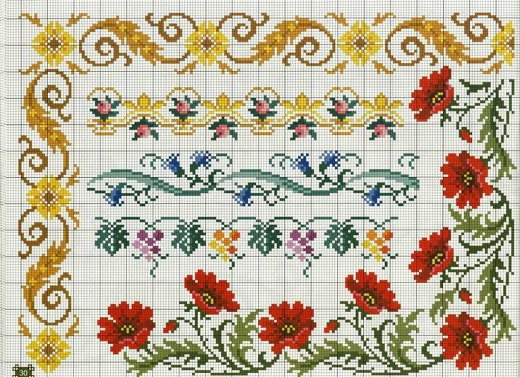 Point de croix, bordure, fleur, roses
