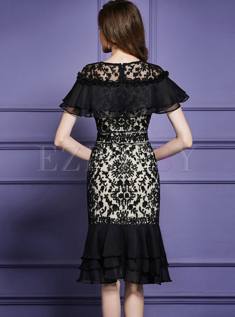 Lace Shawl Collar Splicing Embroidered Flouncing Dress -   10 dress Brokat pendek ideas
