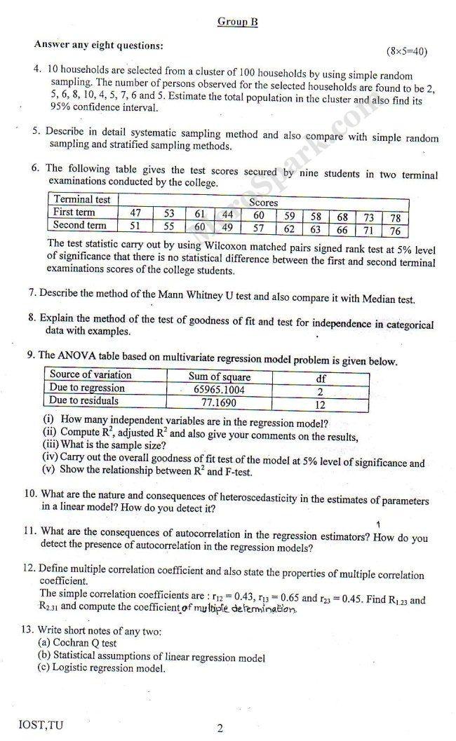 BSc CSIT (TU) Question Paper 2014 - Statistics   Bachelor Level