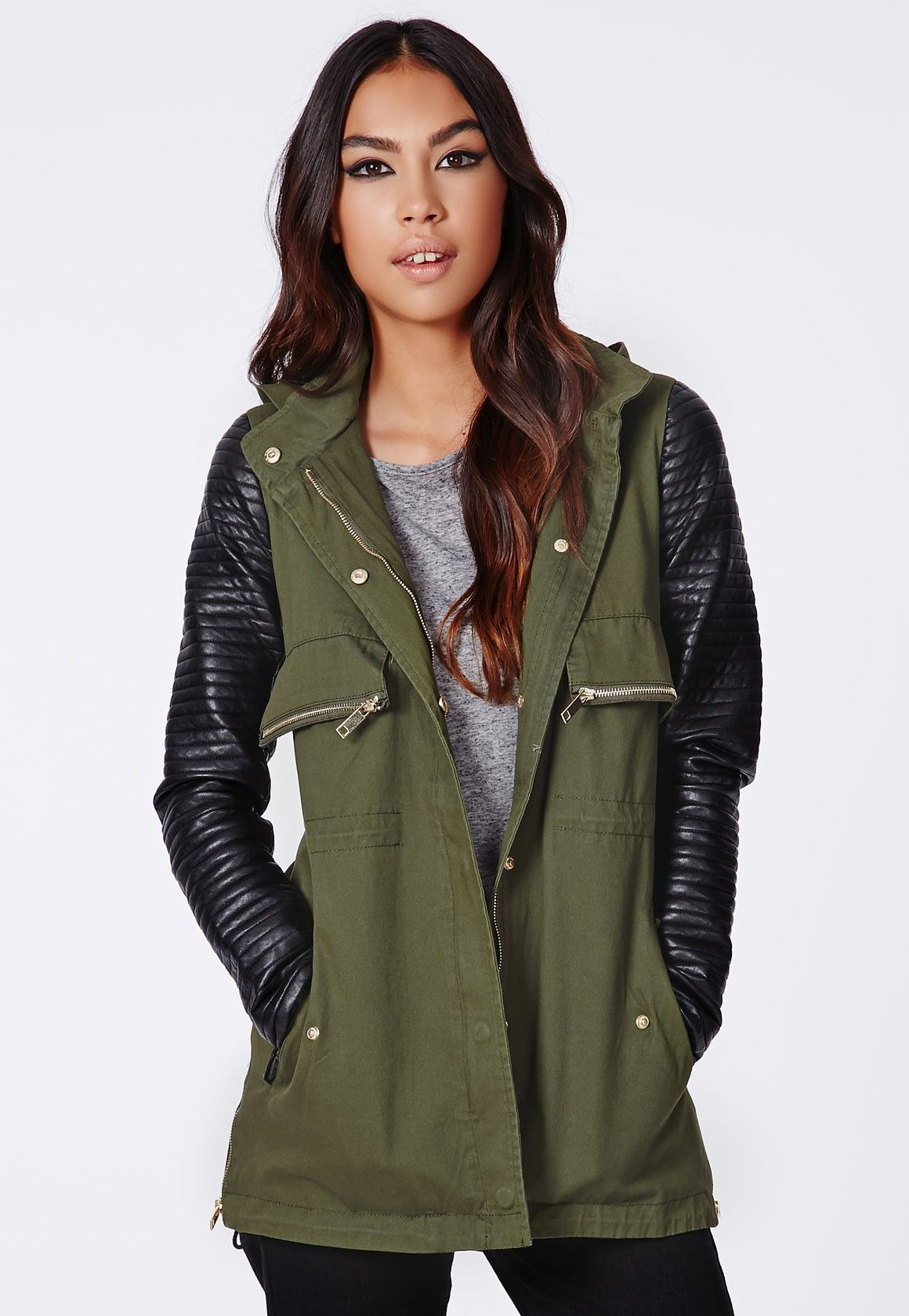 e7e413cdecf3 Yonia Faux Leather Sleeve Utility Jacket Khaki - Coats And Jackets -  Missguided