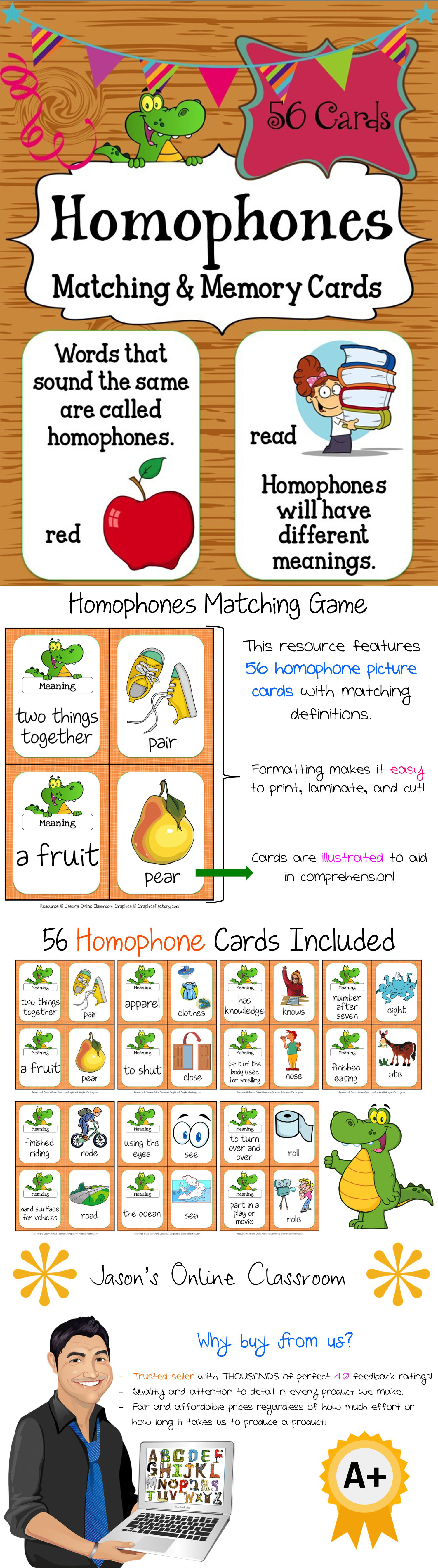 Homophones Matching Definition Amp Picture Cards