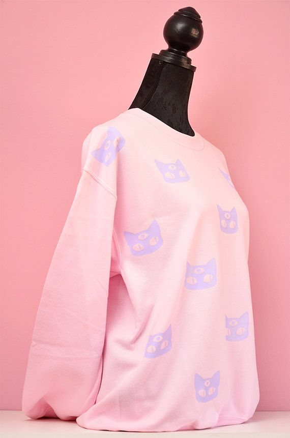 pink pastel goth oversize cute and comfy winter sweater - funny kawaii larme sweatshirt 3 eyed alien cat fairy kei jumper aW6gq3r9M5