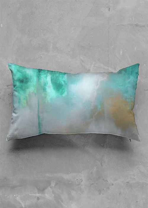Oblong Pillow - Emerald Shores Pillow in Green/Rainbow by VIDA Original Artist #turquoise #turquoisejewelry #turquoiselivingroomdecor #turquoisedecorlivingroom #accent #accentwall #accentchairs #accentwallideas #accenttable